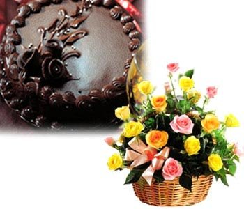 1-kg-chocolate-truffle-cake-with-24-mixed-roses-in-a-basket
