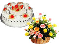1 Kg Pineapple Cake With 24 Mixed Roses In a Basket