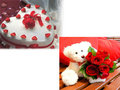 1.5 Kg Heart Shape Butter Scotch Cake With 15 Red Roses & A Teddy