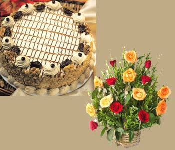 1-kg-fresh-nogut-cake-with-15-red-_-yellow-roses-basket