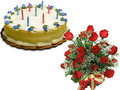 1 Kg Butterscotch Cake With 20 Red Roses Bunch Tied With Ribbon