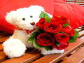 15 Red Roses Bunch with Teddy