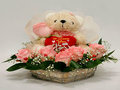12 Pink Roses Arrangement along with a Teddy